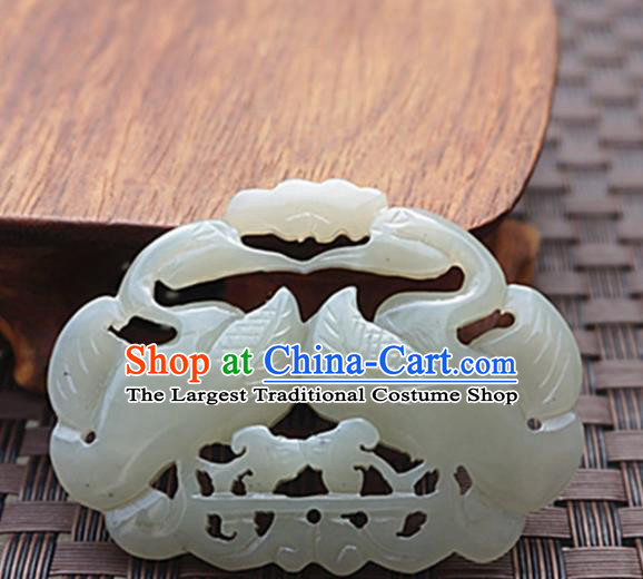Chinese Handmade Carving Mandarin Duck Jade Pendant Jewelry Accessories Ancient Traditional Jade Craft Decoration