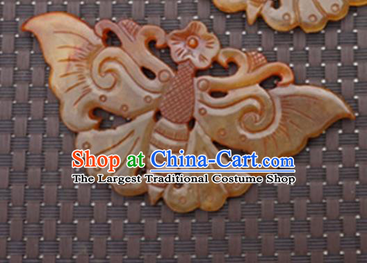 Chinese Handmade Carving Butterfly Jade Pendant Jewelry Accessories Ancient Traditional Jade Craft Decoration