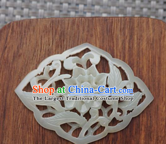 Chinese Handmade Carving Peony Jade Pendant Jewelry Accessories Ancient Traditional Jade Craft Decoration
