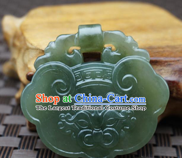 Chinese Handmade Carving Beast Longevity Lock Jade Pendant Jewelry Accessories Ancient Traditional Jade Craft Decoration