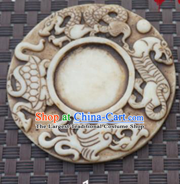 Chinese Handmade Carving Four Beasts Jade Pendant Jewelry Accessories Ancient Traditional Jade Craft Decoration