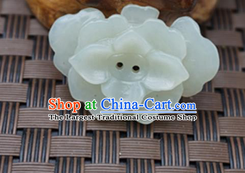 Chinese Handmade Carving Flowers Jade Pendant Jewelry Accessories Ancient Traditional Jade Craft Decoration