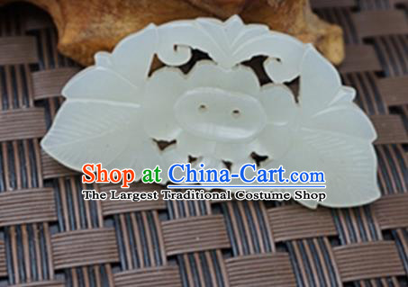 Chinese Handmade Carving Flowers White Jade Pendant Jewelry Accessories Ancient Traditional Jade Craft Decoration