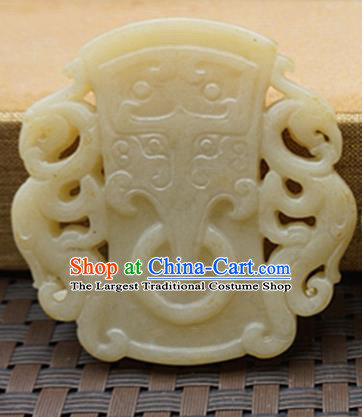 Chinese Handmade Carving Beast White Jade Pendant Jewelry Accessories Ancient Traditional Jade Craft Decoration