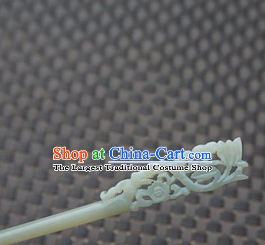 Chinese Handmade White Jade Carving Flower Hair Clip Ancient Jade Hairpins Hair Accessories for Women for Men