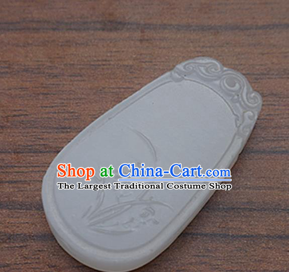 Chinese Handmade Carving Orchid Jade Pendant Jewelry Accessories Ancient Traditional Jade Craft Decoration