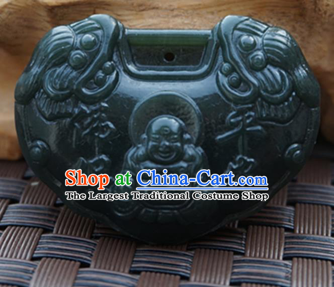 Chinese Handmade Carving Maitreya Jade Pendant Jewelry Accessories Ancient Traditional Jade Craft Decoration