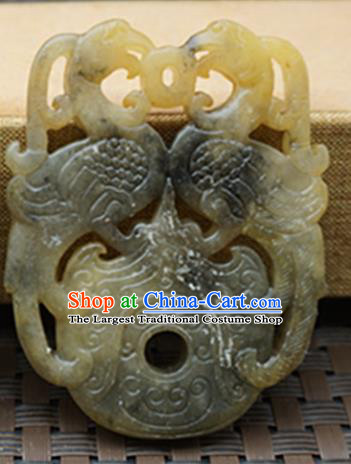 Chinese Handmade Jade Carving Double Phoenix Pendant Jewelry Accessories Ancient Traditional Jade Craft Decoration