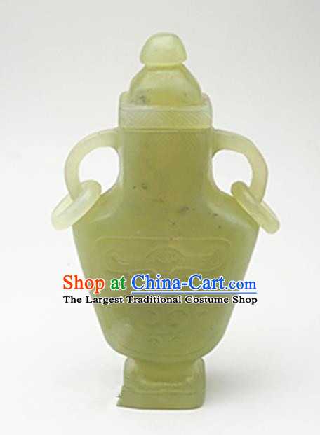 Chinese Handmade Jade Carving Vase Pendant Jewelry Accessories Ancient Traditional Jade Craft Decoration