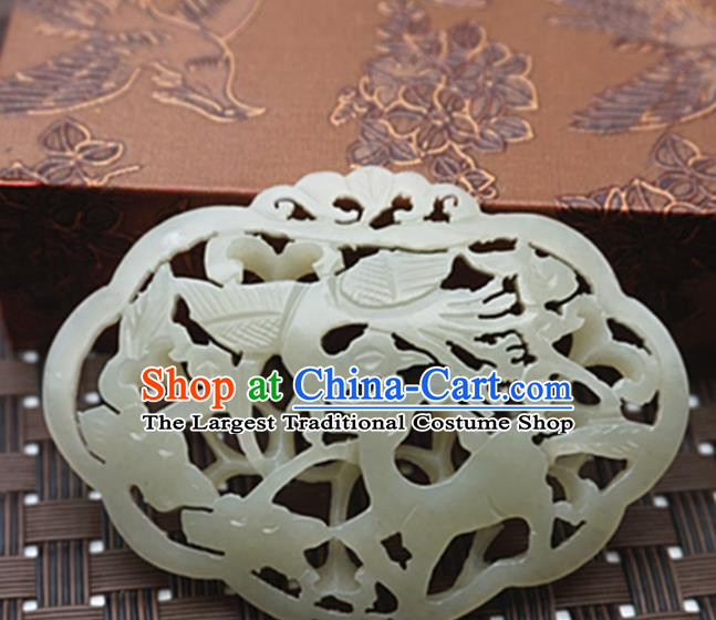 Handmade Chinese Ancient Jade Carving Crane Deer Pendant Traditional Jade Craft Jewelry Decoration Accessories