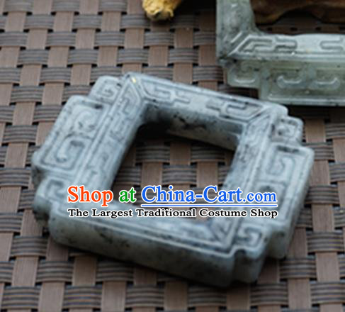 Chinese Handmade Jade Carving Square Pendant Jewelry Accessories Ancient Traditional Jade Craft Decoration