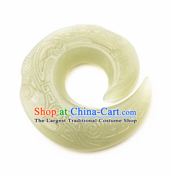 Chinese Handmade Carving Pattern Jade Pendant Jewelry Accessories Ancient Traditional Jade Craft Decoration