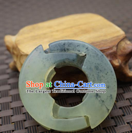 Chinese Handmade Jade Ring Carving Pendant Jewelry Accessories Ancient Traditional Jade Craft Decoration