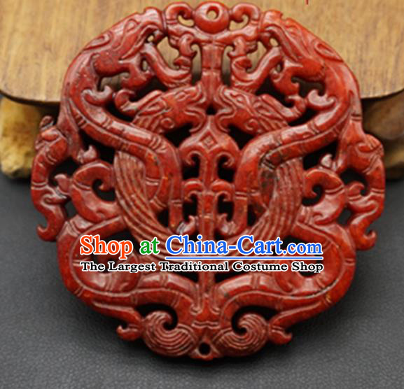 Chinese Handmade Jade Carving Dragons Red Pendant Jewelry Accessories Ancient Traditional Jade Craft Decoration