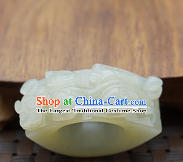 Chinese Handmade Ancient Jade Carving Pi Xiu Ring Traditional Jade Thimble Jewelry Accessories for Women for Men