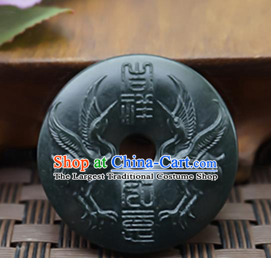Chinese Handmade Gray Jade Carving Cranes Pendant Jewelry Accessories Ancient Traditional Jade Craft Decoration