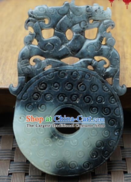 Chinese Handmade Carving Dragon Gray Jade Pendant Jewelry Accessories Ancient Traditional Jade Craft Decoration