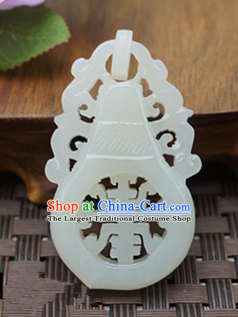 Chinese Handmade White Jade Carving Vase Pendant Jewelry Accessories Ancient Traditional Jade Craft Decoration