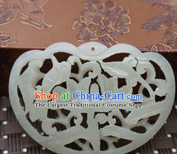 Handmade Chinese Ancient Jade Carving Birds Pendant Traditional Jade Craft Jewelry Decoration Accessories