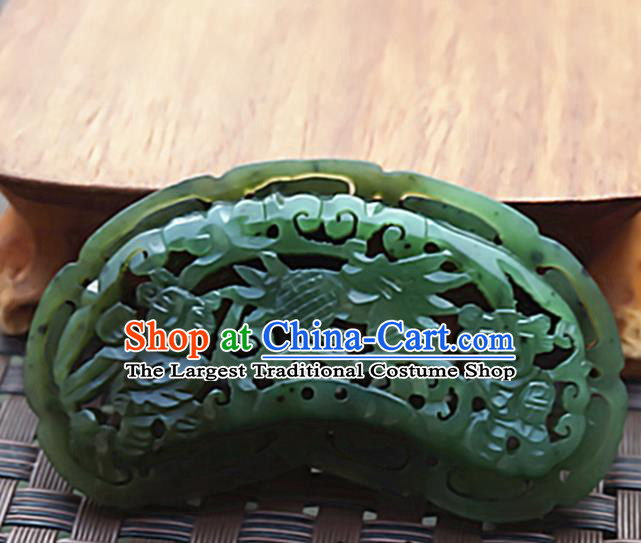 Chinese Handmade Green Jade Carving Children Pendant Jewelry Accessories Ancient Traditional Jade Craft Decoration
