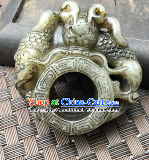 Chinese Handmade Ancient Carving Pi Xiu Jade Ring Traditional Jade Thimble Jewelry Accessories for Women for Men