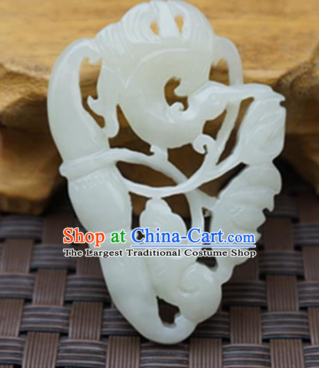 Chinese Handmade Carving Magpie Lotus Jade Pendant Jewelry Accessories Ancient Traditional Jade Craft Decoration