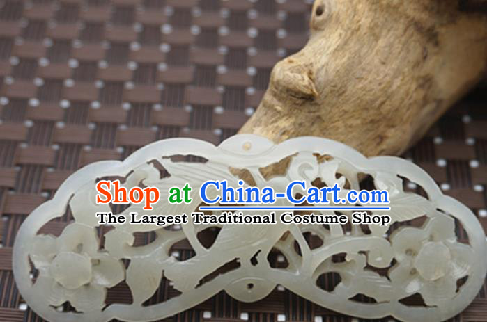 Handmade Chinese Ancient Jade Carving Pierced Pendant Traditional Jade Craft Jewelry Decoration Accessories