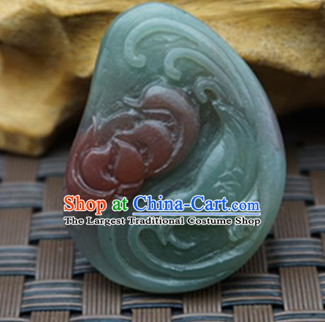 Chinese Handmade Carving Lotus Magpie Jade Pendant Jewelry Accessories Ancient Traditional Jade Craft Decoration