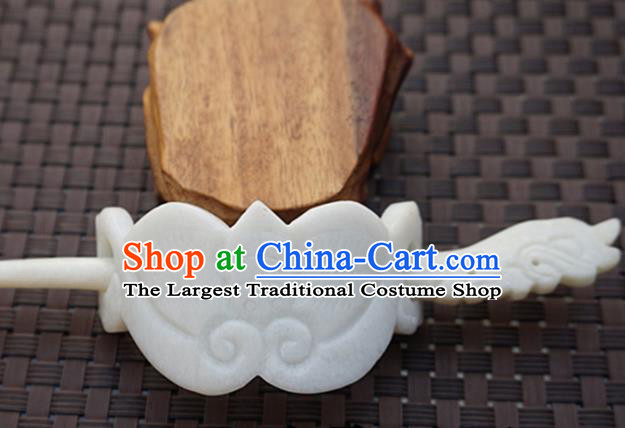 Chinese Handmade White Jade Carving Bat Hairdo Crown Ancient Jade Hairpins Hair Accessories for Women for Men
