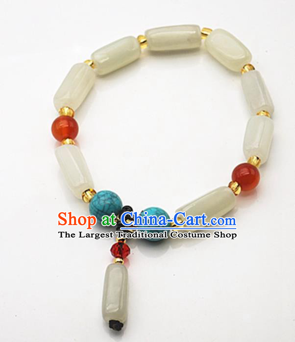 Chinese Handmade Ancient Jade Bracelet Traditional Jade Bangle Chain Jewelry Accessories for Women for Men