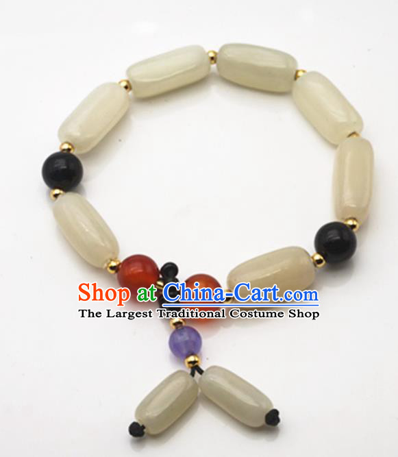 Chinese Handmade Ancient White Jade Bracelet Traditional Jade Bangle Chain Jewelry Accessories for Women for Men