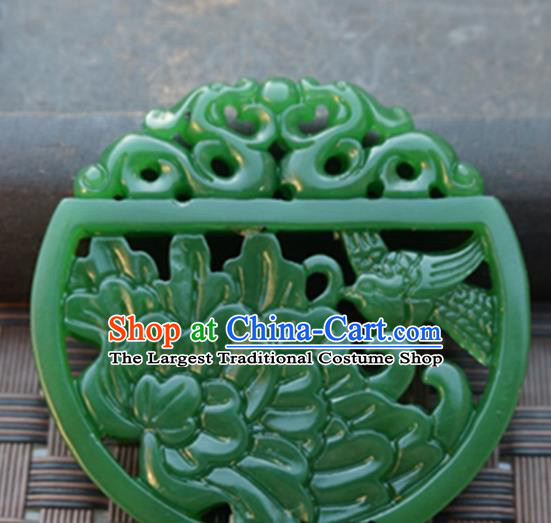 Handmade Chinese Ancient Green Jade Carving Peony Bird Pendant Traditional Jade Craft Jewelry Decoration Accessories