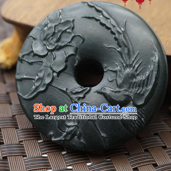 Handmade Chinese Ancient Black Jade Carving Bird Pendant Traditional Jade Craft Jewelry Decoration Accessories