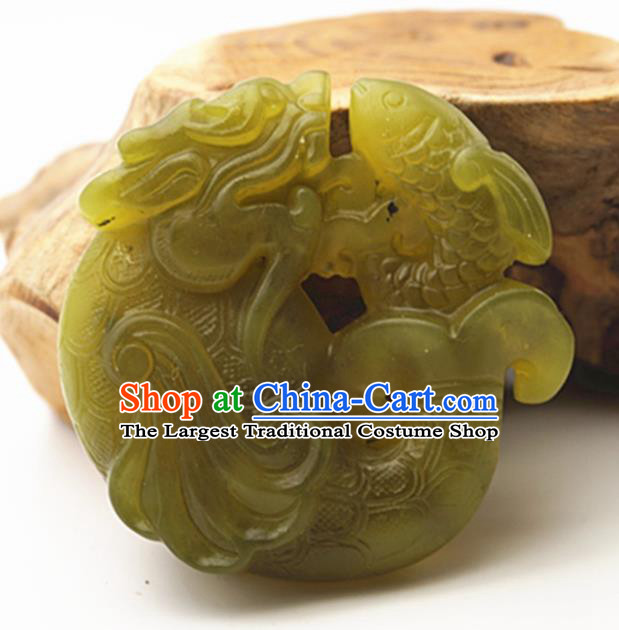 Handmade Chinese Ancient Jade Carving Dragonfish Pendant Traditional Jade Craft Jewelry Decoration Accessories