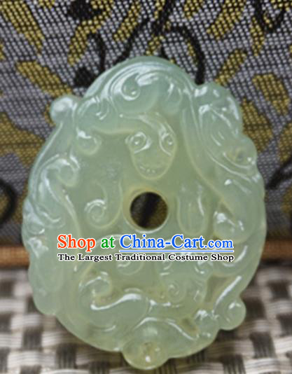 Chinese Handmade Jade Carving Pi Xiu Pendant Jewelry Accessories Ancient Traditional Jade Craft Decoration