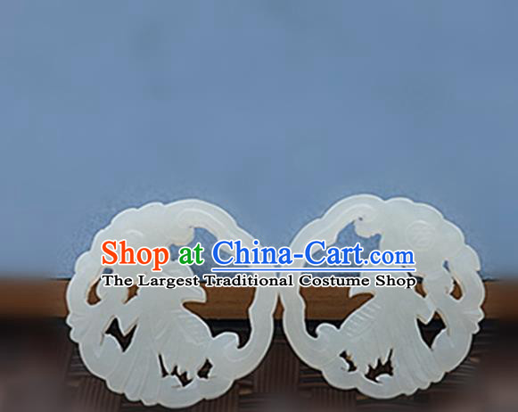Chinese Handmade Jade Carving Magpie Pendant Jewelry Accessories Ancient Traditional Jade Craft Decoration
