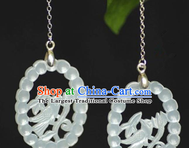 Chinese Handmade Jade Carving Birds Pendant Jewelry Accessories Ancient Traditional Jade Craft Decoration