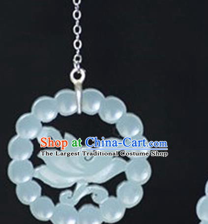 Chinese Handmade Jade Carving Orchid Pendant Jewelry Accessories Ancient Traditional Jade Craft Decoration