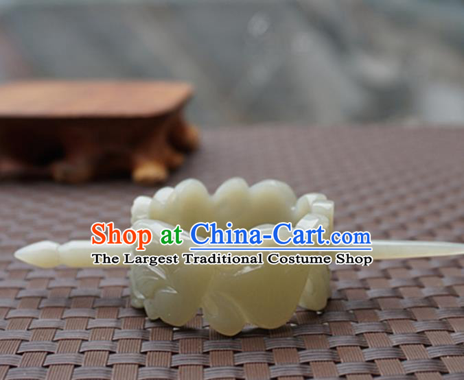 Chinese Handmade Jade Carving Pi Xiu Hair Crown Ancient Jade Hairpins Hair Accessories for Women for Men