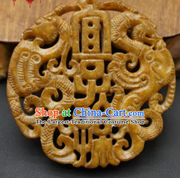 Chinese Handmade Jade Carving Dragon Phoenix Pendant Jewelry Accessories Ancient Traditional Jade Craft Decoration
