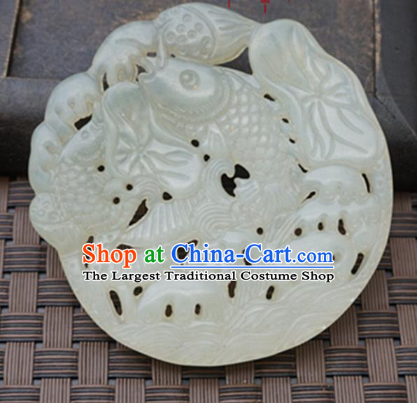 Chinese Handmade Jade Carving Carps Pendant Jewelry Accessories Ancient Traditional Jade Craft Decoration