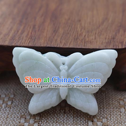 Chinese Handmade Jade Carving Butterfly Pendant Jewelry Accessories Ancient Traditional Jade Craft Decoration