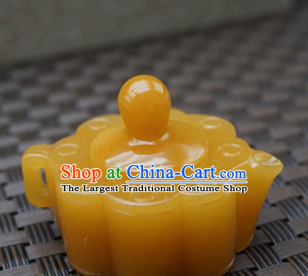 Chinese Handmade Jade Carving Teapot Pendant Jewelry Accessories Ancient Traditional Jade Craft Decoration