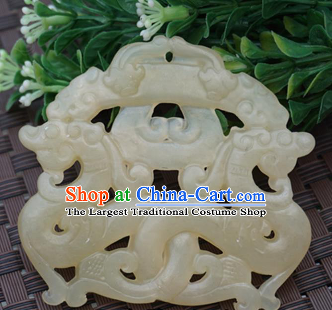 Chinese Handmade Jade Carving Dragons Pendant Jewelry Accessories Ancient Traditional Jade Craft Decoration