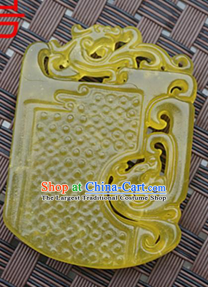 Chinese Handmade Yellow Jade Carving Dragons Pendant Jewelry Accessories Ancient Traditional Jade Craft Decoration