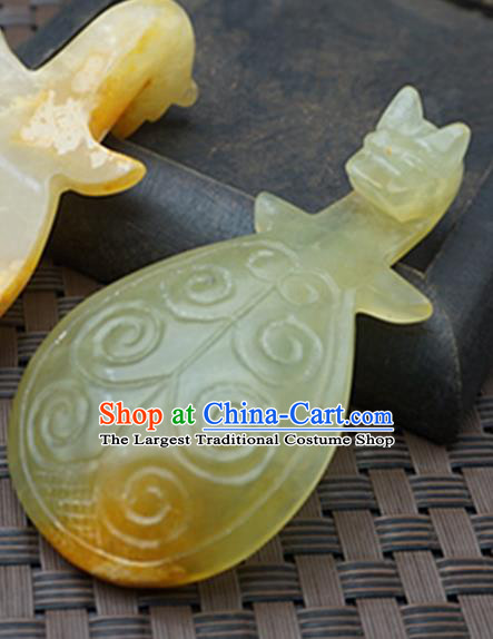 Chinese Handmade Jade Craft Carving Lute Jade Belt Hook Waist Accessories Jade Jewelry Decoration