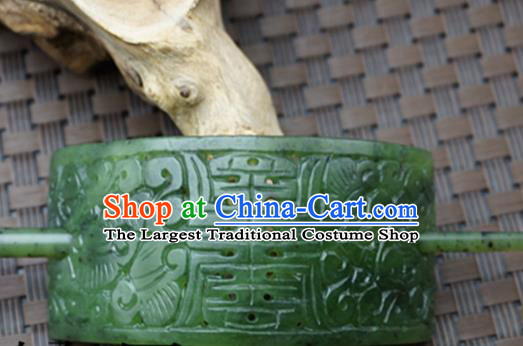 Chinese Handmade Jade Hairpins Ancient Green Jade Carving Hair Crown Hair Accessories for Women for Men