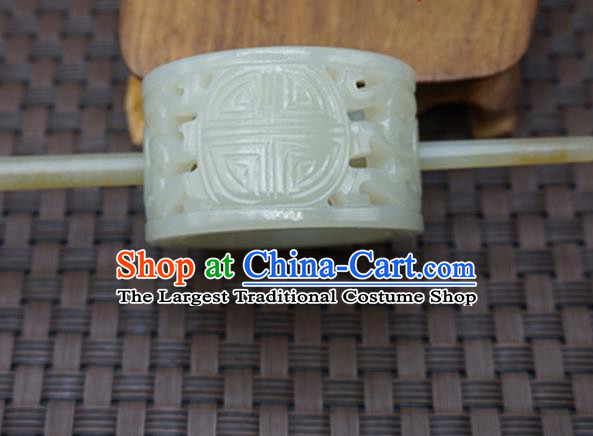 Chinese Handmade White Jade Carving Hairdo Crown Ancient Jade Hairpins Hair Accessories for Women for Men