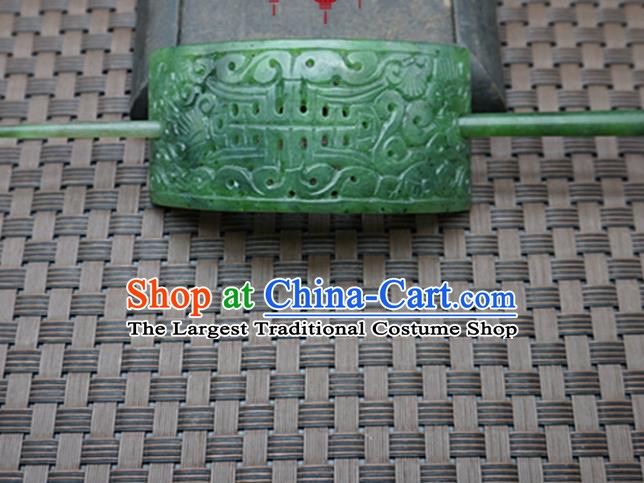 Chinese Handmade Green Jade Carving Hairdo Crown Ancient Jade Hairpins Hair Accessories for Women for Men