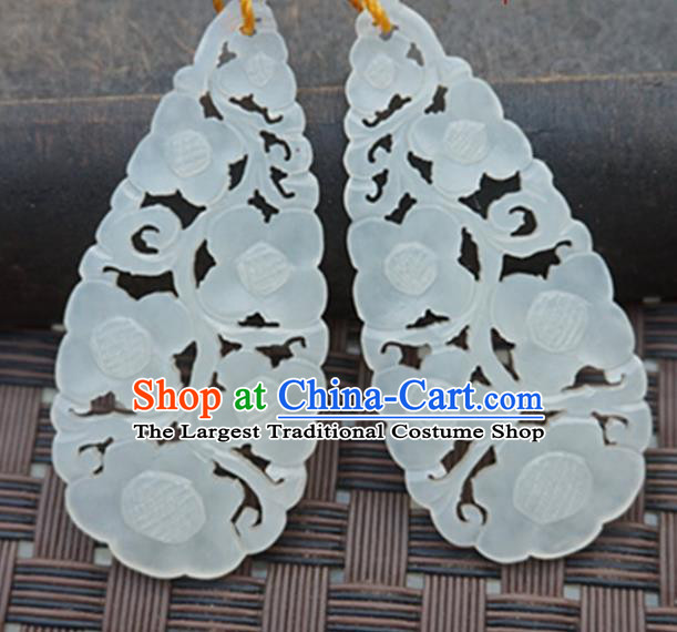 Handmade Chinese Ancient Carving Flowers Jade Pendant Traditional Jade Craft Jewelry Decoration Accessories